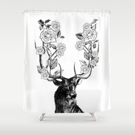 The Stag and Roses | Deer and Flowers | Vintage Stag | Vintage Deer | Antlers | Black and White | Shower Curtain