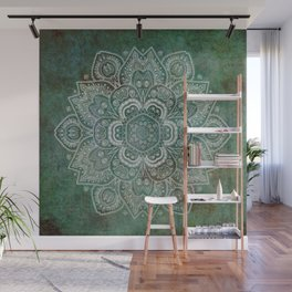 Silver White Floral Mandala on Green Textured Background Wall Mural