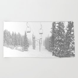 Empty Chairlift // Alone on the Mountain at Copper Whiteout Conditions Foggy Snowfall Beach Towel