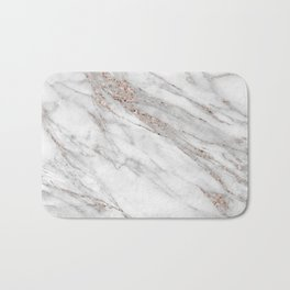 Pink Rose Gold Blush Metallic Glitter Foil on Gray Marble Bath Mat
