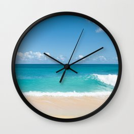 Turquoise wave Wall Clock