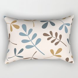 Assorted Leaf Silhouettes Blues Brown Gold Cream Rectangular Pillow
