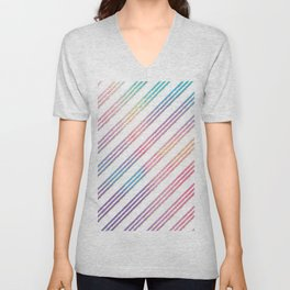 Abstract pink teal purple gradient stripes pattern Unisex V-Neck