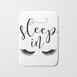 SLEEP IN PRINT, Let's Sleep In,Lashes Decor,Lashes Art,Good Night Print,Teen Girls,Calligraphy Quote Bath Mat