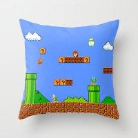 mario Throw Pillows featuring Mario by idaspark