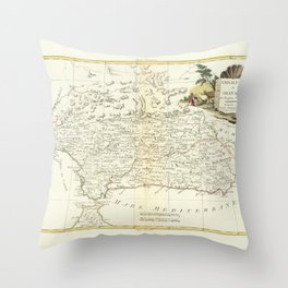 Vintage Map Print - Map of Andalusia and Granada, Spain, 1776 Throw Pillow