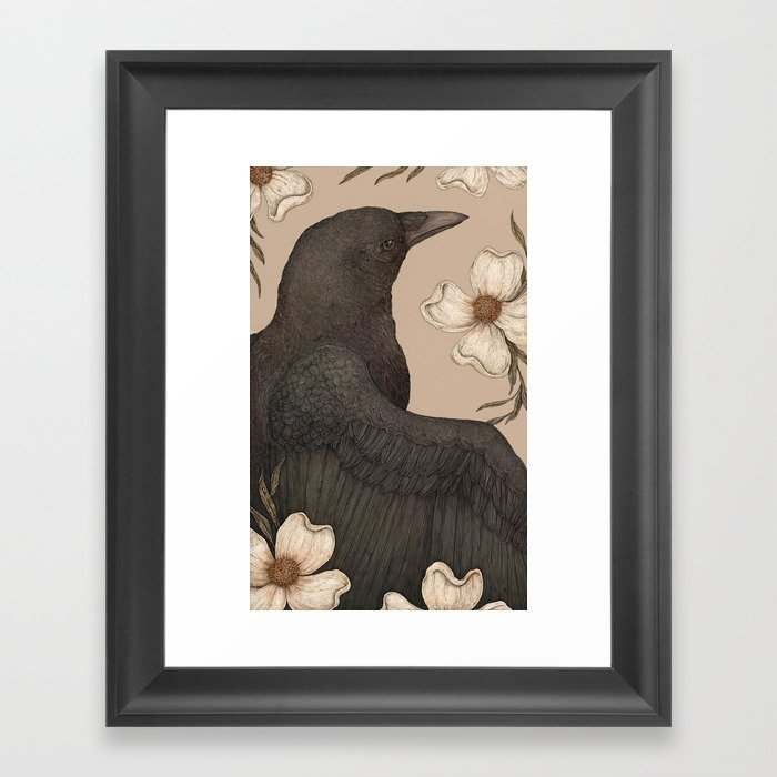 The Crow and Dogwoods Gerahmter Kunstdruck