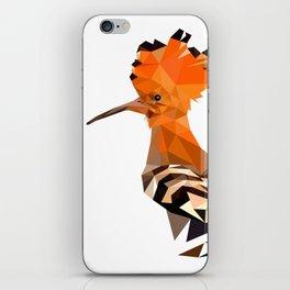 Bird artwork hoopoe geometric, Orange and brown iPhone Skin