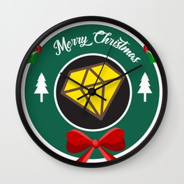 yellow diamond merry christmas wreath Wall Clock