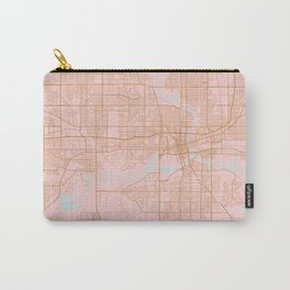 Pink and gold Des Moines map, Iowa Carry-All Pouch