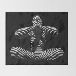 1195-MAC Abstract Nude Black & White Zebra Striped Woman Topographic Feminine Body Throw Blanket
