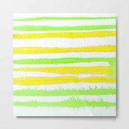 Lemon Lime Watercolor Stripes Metal Print