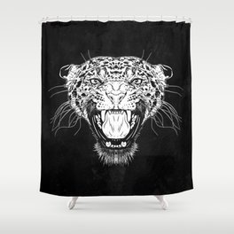 Illustration with a head of a leopard in white on a dark background Shower Curtain