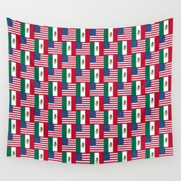 Mix of flag: mexico and usa Wall Tapestry