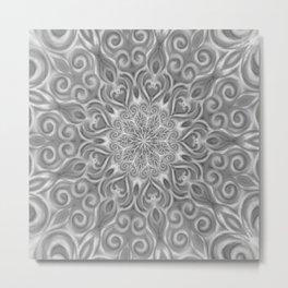 Gray Center Swirl Mandala Metal Print