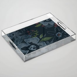 Moody Blues Floral Pattern Acrylic Tray
