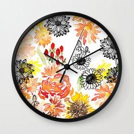 Autumn Florals Wall Clock