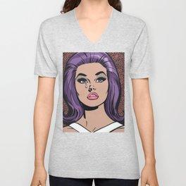 Purple Crying Comic Sad Girl Unisex V-Neck