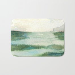 Emerald Sea Watercolor Print Bath Mat
