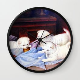 Puppies Playing On A Baby Blue Blanket Wall Clock