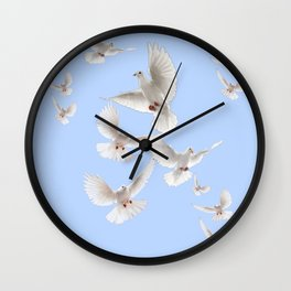 WHITE PEACE DOVES IN SKY BLUE COLOR Wall Clock