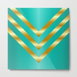 Gold strips on royal green gradient Metal Print