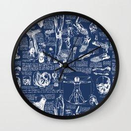 Da Vinci's Anatomy Sketchbook // Regal Blue Wall Clock