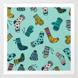 Socks and Mittens Pattern Art Print
