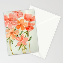 Peach & Orange Blossom Flowers - Watercolor Floral Art Stationery Cards