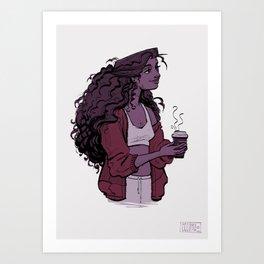 Coffee and Curls Art Print