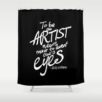 akira Shower Curtains featuring To be an artist... Akira Kurosawa  by Dubai Doodles