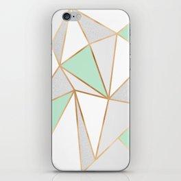 Mint Green, Grey & Gold Geo iPhone Skin