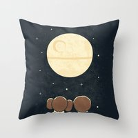 yetiland Throw Pillows featuring Moon Gazing by Teo Zirinis