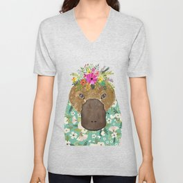 Platypus Animal Portrait Unisex V-Neck