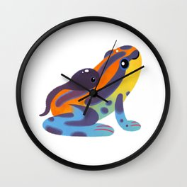Poison dart frogs - bright Wall Clock