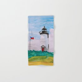 Cape Poge Lighthouse, Martha's Vineyard watercolor Hand & Bath Towel
