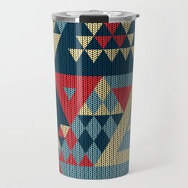 triangles-cream-blue-red-KNIT Travel Mug