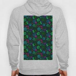 Watercolor Floral Garden in Electric Black Velvet Hoody