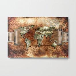 World map paint design art illustration Metal Print