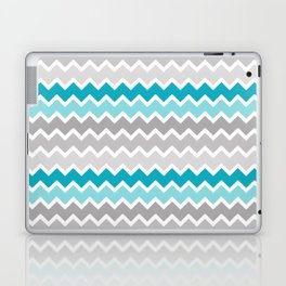 Turquoise Teal Blue Gray Chevron Laptop & iPad Skin