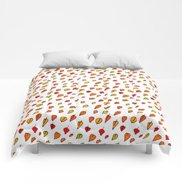 Hand drawn red orange green watercolor leaves pattern Comforters