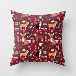Chihuahua christmas presents dog breed stockings candy canes mittens Throw Pillow