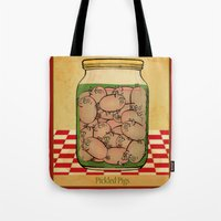 clueless Tote Bags featuring Pickled Pig Revisited by Megs stuff...