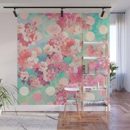 Romantic Pink Retro Floral Pattern Teal Polka Dots Wall Mural