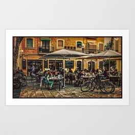 Al fresco dining Barcelona Art Print
