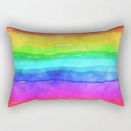 Rainbow Watercolor Rectangular Pillow