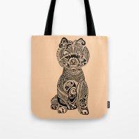 pomeranian Tote Bags featuring Polynesian Pomeranian by Huebucket