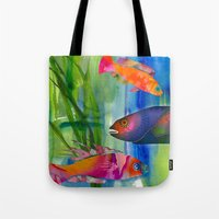 hippy Tote Bags featuring Hippy fish by ariesmoon