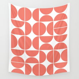 Mid Century Modern Geometric 04 Living Coral Wall Tapestry
