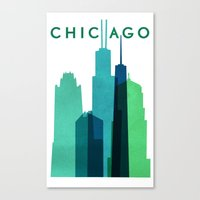 chicago bulls Canvas Prints featuring CHICAGO by Grace Fowler